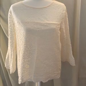Cream lace bell sleeve gap blouse